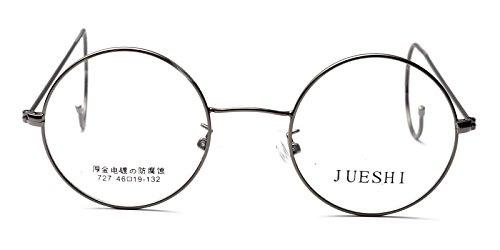 Vintage Cable Temple Round Eyeglass Frame Spectacles Rx Retro Mens Women Kids (Gray, ()