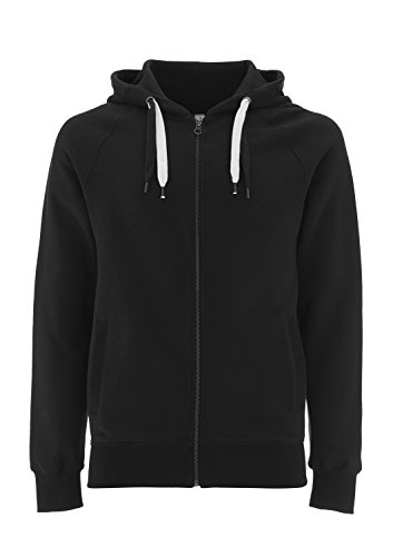 (Underhood of London Black Hoodie for Women - Small - Womens Zipper Zip Up Cotton Hooded Sweatshirt)