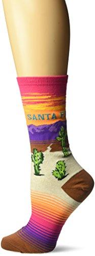 Hot Sox Women's Originals Classics Novelty Crew Socks, Santa Fe (Bright Pink), Shoe Size: 4-10