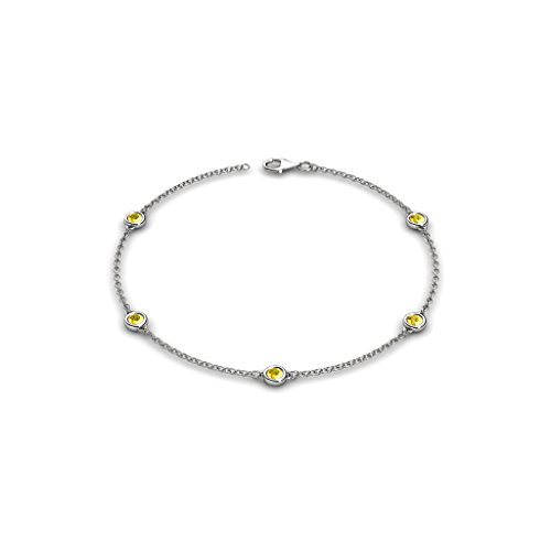 Petite Yellow Sapphire by the Yard 5 Stations Bracelet 0.53 ct tw in 14K White Gold - 14k Yellow Gold Sapphire Bracelet