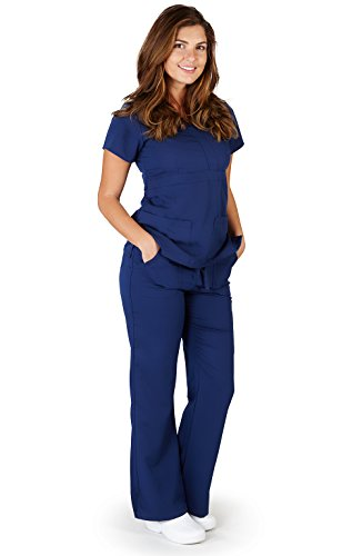 (Ultra Soft Brand Scrubs - Premium Womens Junior Fit 3 Pocket Mock Wrap Scrub Set, Navy)