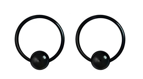 Forbidden Body Jewelry 18g 10mm Black Surgical Steel Captive Bead Body Piercing Hoops (2pcs) ()