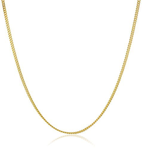 - 14k Yellow Gold 1mm Cuban Curb Chain Necklace, 18