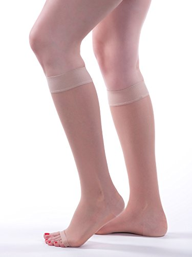 Allegro 15-20mmHg Essential 17 Sheer Support Knee High Open Toe Compression Hose