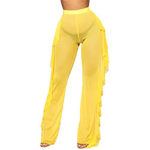 RUEWEY Women See Throug Mesh Flare Cover up Pants Swimsuit Bikini Bottom Cover up Elastic Waist Wide Leg Palazzo Trousers (XL, Yellow)