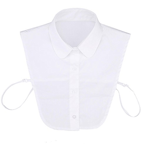cooshional Blanc Amovible Col Femme Chemise Faux Blouse Top Moiti de 6U6qrvw