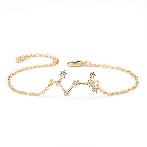BOCHOI Constellations Gold Scorpio Zodiac Sign Bracelet for Women Girls Bracelet Astrology Horoscope CZ Jewelry for Mother Daughter BFF Bridesmaid Birthday Gift Adjustable Chain 7+1