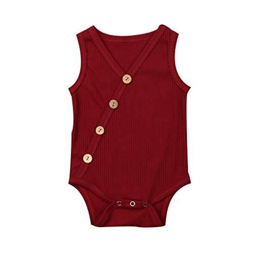 LiLiMeng Toddler Baby Kids Girls Boys Sleeveless Solid Romper Sunsuit Bodysuit Cotton Clothes Oblique Button Stripe Wine