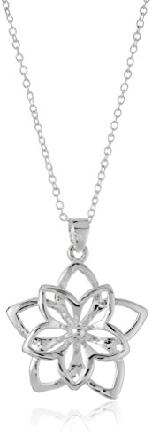 "Sterling Silver Girl's Double Flower Pendant, 13.5"" +2"" extender"