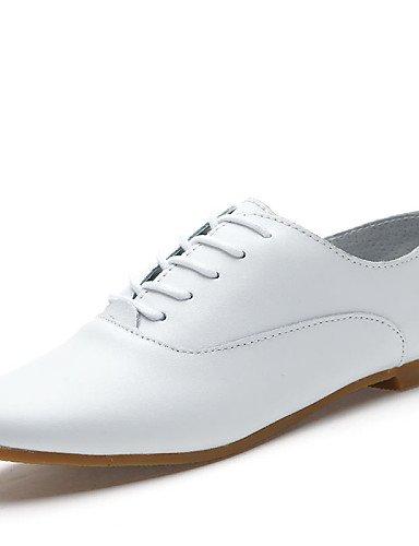 ZQ Zapatos de mujer - Tacón Plano - Comfort / Punta Redonda - Oxfords - Oficina y Trabajo / Casual / Fiesta y Noche - Semicuero -Negro / , black-us9 / eu40 / uk7 / cn41 , black-us9 / eu40 / uk7 / cn41 white-us9 / eu40 / uk7 / cn41