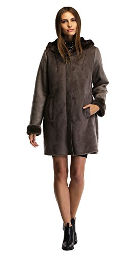 Enjoy fur Women's 2016 New Style Dark Bronze Faux Leather Coat With Hood (X-Large) by Enjoy fur (Image #1)