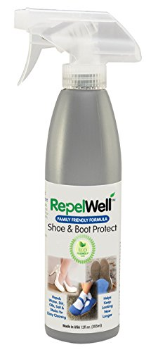 Repel Well Shoe & Boot Protect Stain & Water Repellent (12oz) Eco-friendly, Pet-Safe Spray Keeps Your Fabric, Leather & Suede Footwear Clean, Dry and Looking New, Longer Leather Spray Repellent