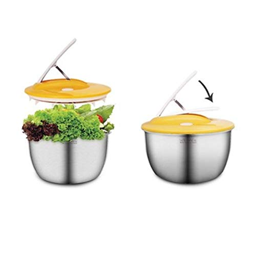 (Salad Spinner 18/10 Stainless Steel Yellow and White)