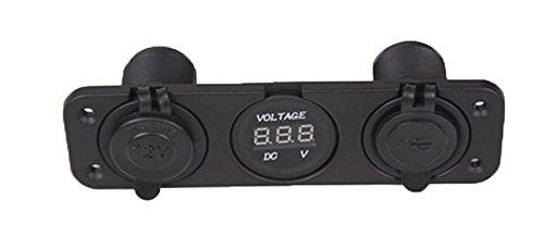 zowaysoon PJH-RS-0377 Car Digital Voltmeter Dual USB 2 Port Power Socket Three Hole Panel, Black