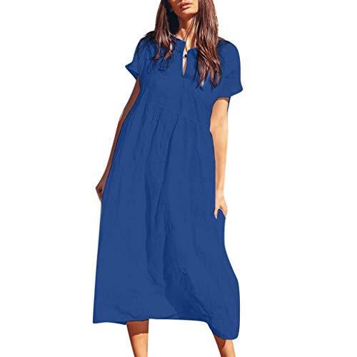 Yoke Cutwork - GOWOM Fashion Women's Summer Casual Solid Short Sleeve Turn-Down Collar Beach Dress(Blue,Medium)