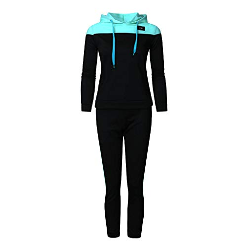 Fashion 2 Piece Outfit Women Casual Tracksuit Long Sleeve Sport Tops+Long Pants Set Blue