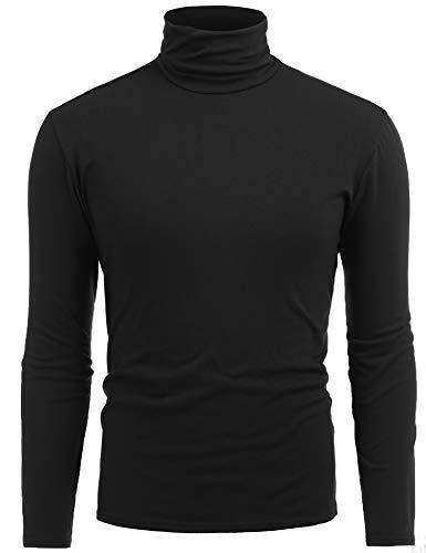 FISOUL Mens Slim Fit Long Sleeve Turtleneck Plain Pullover Sweater Black XXL