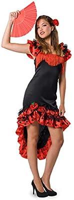 Folat - Traje de Flamenca español para Mujer - Roja & Negro ...