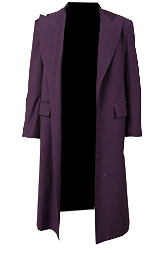 Mens' Halloween Purple Long Wool Trench Coat Suit Costume Jacket,Large (Large Wool Sized Orange)
