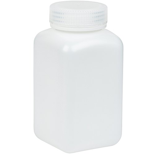 500ml Wide-Mouth Square Media Storage Bottle, HDPE Material, Screw Cap in PP Material, Leakproof, Karter Scientific 238C2 (Pack of 6)