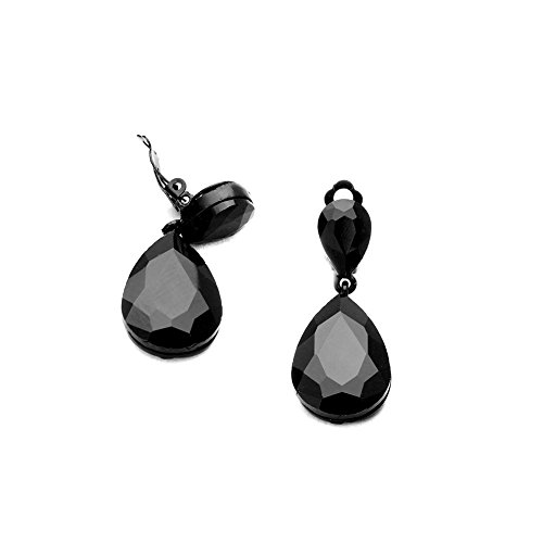 (Black-on-Black Teardrop Crystal Clip-On Earrings)