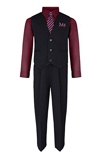 Burgundy Vest Set - S.H. Churchill & Co. Boy's Vest and Pant Set, Includes Shirt, Tie and Hanky -  Black/Burgundy, 8