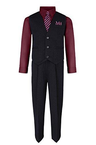 Burgundy Vest Set - S.H. Churchill & Co. Boy's Vest and Pant Set, Includes Shirt, Tie and Hanky - Black/Burgundy, 8