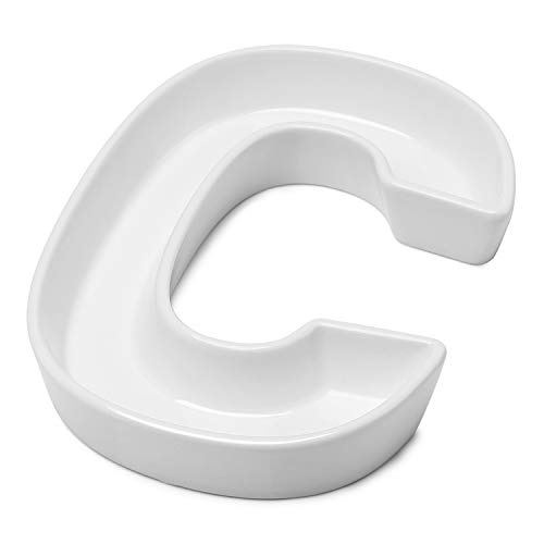 Sweese 708.903 Porcelain Letter Candy Dish, Letter C, White Candy Bowl - Decorative Serving Dish for Weddings, Anniversaries, Baby Showers, Birthday Parties, Table Decoration