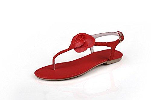 Amoonyfashion Kvinners Åpen Tå Ku Skinn Mykt Materiale Solide Sandaler Med Blomst Og Spenne Rødt