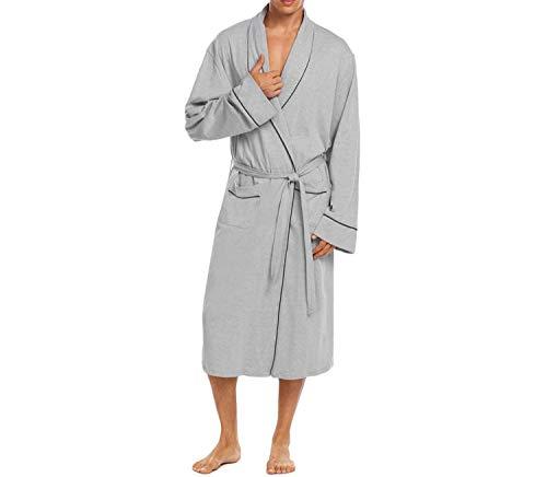 Kimono Lounge Uomo Robe Manica Soft Long Accappatoio Maschili A Warm Sleepwear Lunga Gray Abiti Vestaglia Scialle Collo UwwqtPHFp1