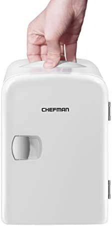 Chefman Mini Portable Compact Personal Fridge, Cools & Heats, 4 Liter Capacity, Chills 6 12oz cans, 100% Freon-Free & Eco Friendly, Includes Plugs for Home Outlet & 12V Car Charger - White