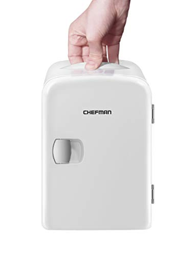 Chefman Mini Portable Compact Personal Fridge, Cools & Heats 4 Liter Capacity, Chills 6 12oz cans, 100% Freon-Free & Eco Friendly, Includes Plugs for Home Outlet & 12V Car Charger, White
