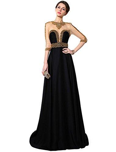 Belle House Backless Black Long Sleeve Evening Dress Celebrity Gown