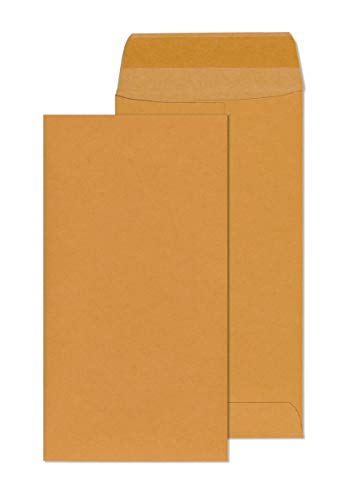 (No. 7 Coin Envelopes - Money Envelopes for Cash & Coin - 28 lb Brown Kraft Paper - Gummed Flap - Pack of 55 Currency Envelopes)