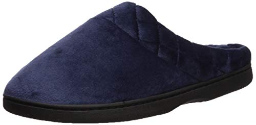 Dearfoams Women's Microfiber Velour Clog with Quilted Cuff Wide Width Slipper Peacoat MW Regular US
