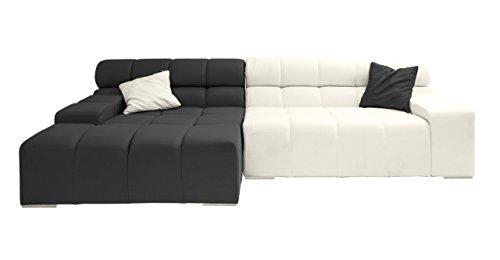 Kardiel Cubix Modern Modular Sofa Sectional Left, Charcoal/Chalk White Cashmere