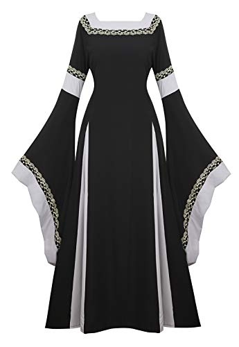 Womens Irish Medieval Dress Renaissance Costume Retro Gown Cosplay Costumes Fancy Long Dress Black-XL]()