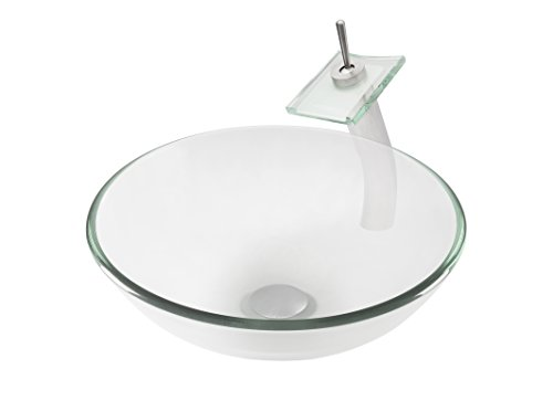 Topia TSFS-402485033BN-C Glass Above Counter Round Bathroom Sink with Brushed Nickel Faucet, 16'' L x 16'' W x 5.5'' H, Clear