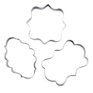 Plaque Frame Cookie Cutter 3Pcs/Set, KOOTIPS Square Frame Plaque Fancy Oval Stainless Steel Cookie Cutter
