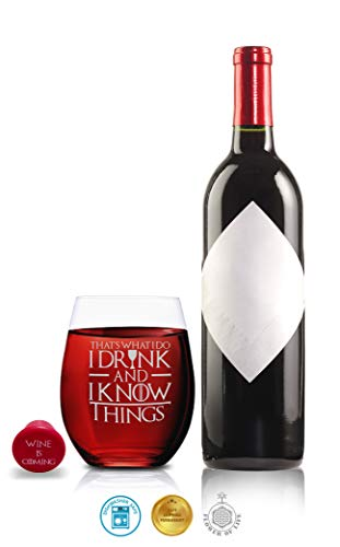 Game Of Thrones Glasses - I Drink and I know Things Whiskey Highball and I Drink and I Know Things Wine Glass - Set of 2 - by FOLE (Image #2)