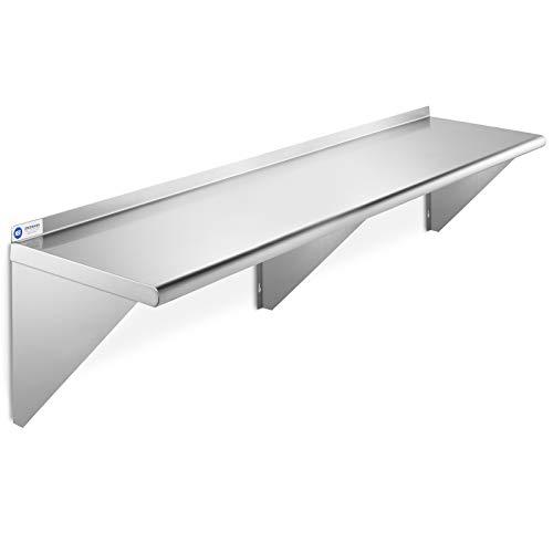 GRIDMANN NSF Stainless Steel Kitchen Wall Mount Shelf Commercial Restaurant Bar w/ Backsplash - 18