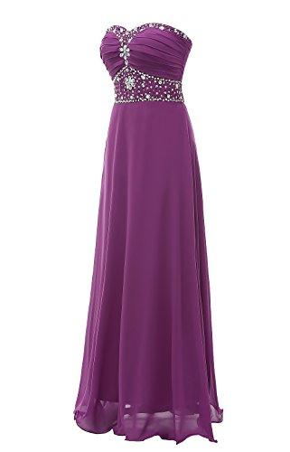 Belle Robe En Mousseline De Perles Chérie Femmes Robes De Bal Longue Violette