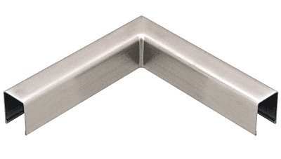 C.R. LAURENCE L10HBS CRL Brushed Stainless L10 Series U-Channel 90 Degree Horizontal Corner for 21.52 mm Glass Cap Railing