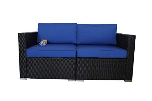 Outdoor Black Rattan Wicker Sofa Set Garden Patio Furniture Cushioned Sectional Loveseat(Royal Blue Cushions,2 Piece)