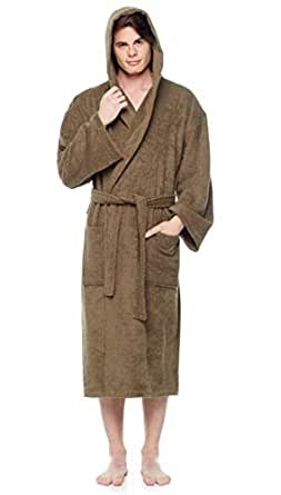 Arus Men's Classic Hooded Bathrobe Turkish Cotton Terry Cloth Robe (S/M,Army Green)