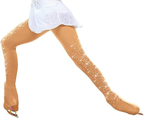 ChloeNoel Figure Skating Over The Boot Tights with Crystals on Both Legs TB8832 (Tan,CL)
