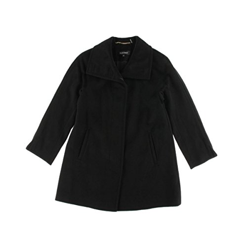 Ellen Tracy Womens Petites Wool Raglan Sleeves Coat Black 4P