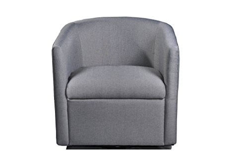 Container Furniture Direct Madge Collection Contemporary Fabric Upholstered  Swivel Living Room Accent Chair, Grey