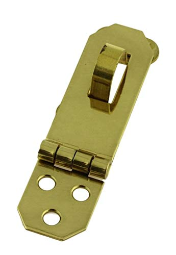 Solid Brass Decorative Hasp_Flat Back_3-3/4'' x 3/4''_ Antique Modern Furniture Drawers Cabinet Doors Chest Box Trunk Lids Padlock + Free Bonus (Skeleton Key Badge) DL-804PB
