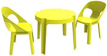 resol Rita set infantil de 2 sillas y 1 mesa para interior, exterior, jardín - color verde lima: Amazon.es: Hogar